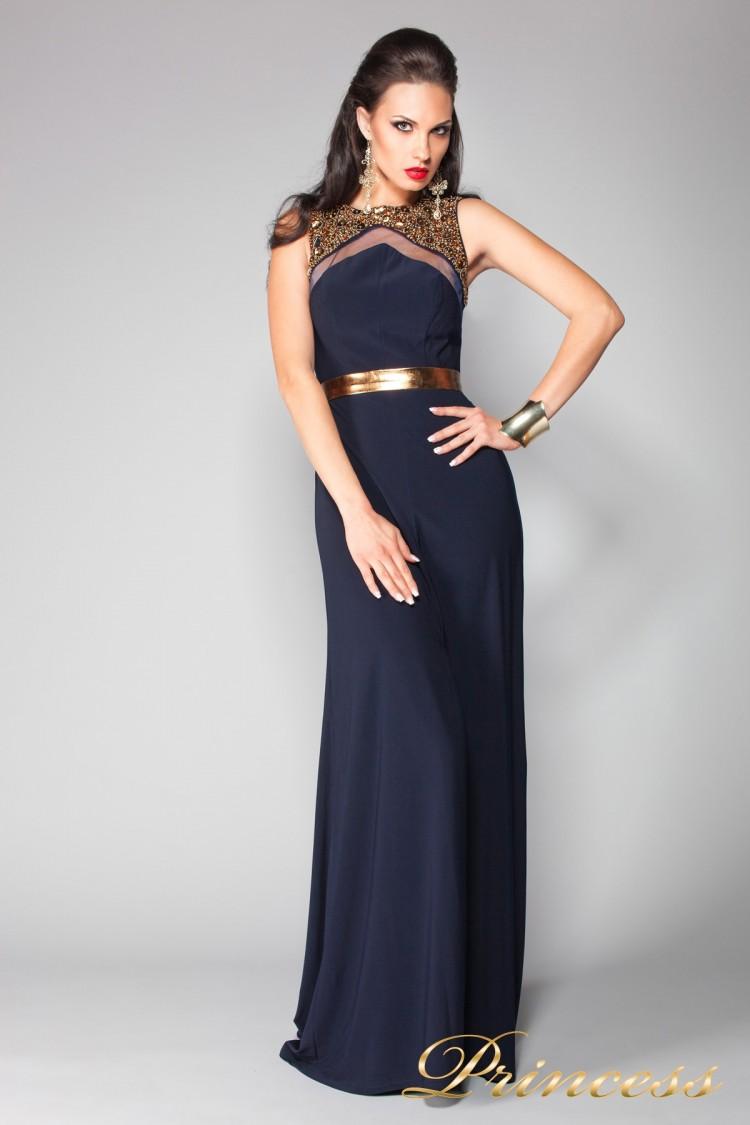 Вечернее платье 4673 синего цвета