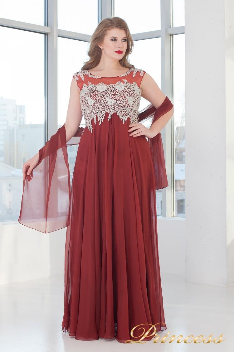 Вечернее платье 4675 D терракотового цвета