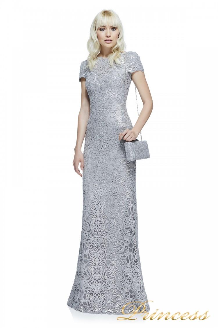 Вечернее платье Tadashi Shoji  AZZ16575L PEWTER стального цвета