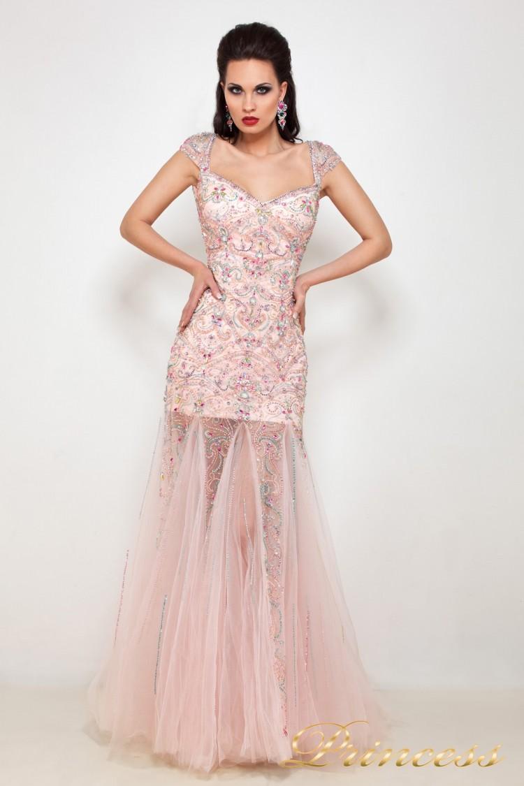 Вечернее платье 614047 розового цвета