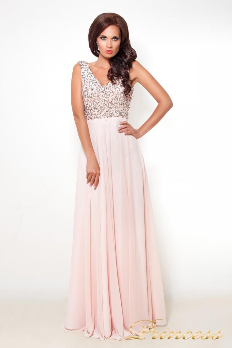 Вечернее платье 6042 розового цвета