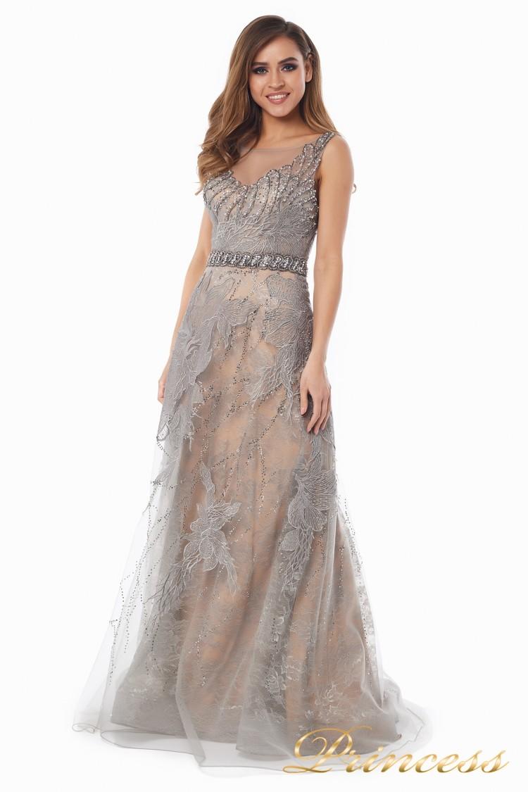 вечернее платье 6146 стального цвета