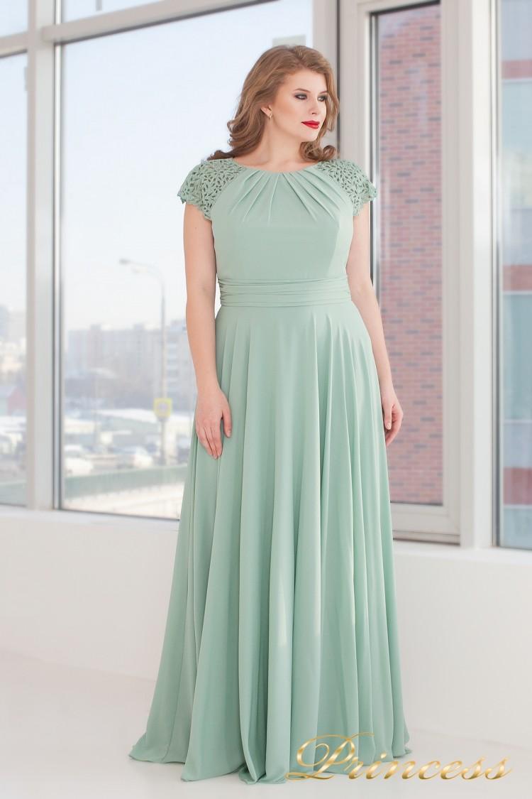 Вечернее платье 709 G салатового цвета