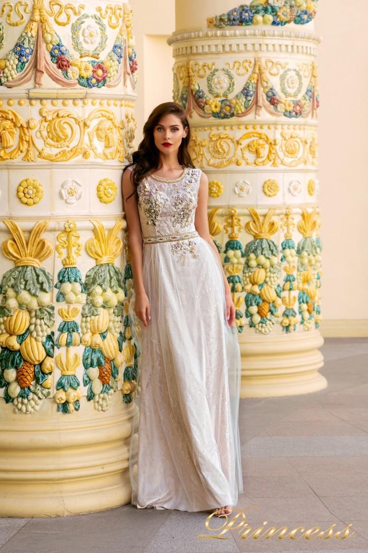 Вечернее платье NF-8085 бежевого цвета