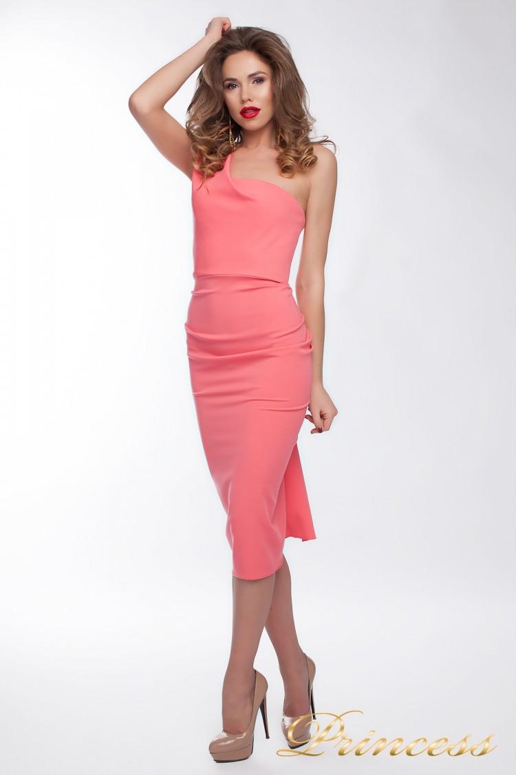 Коктейльное платье 8228 персикового цвета