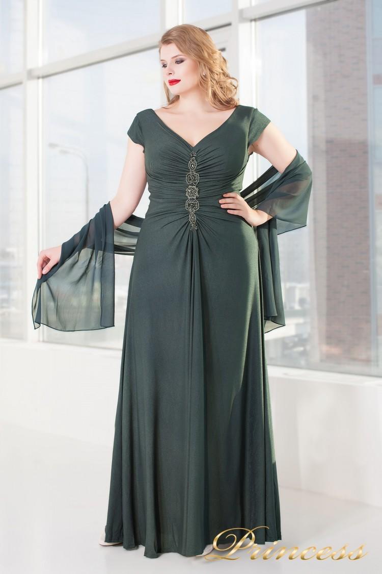 Вечернее платье 826 dark-green серого цвета