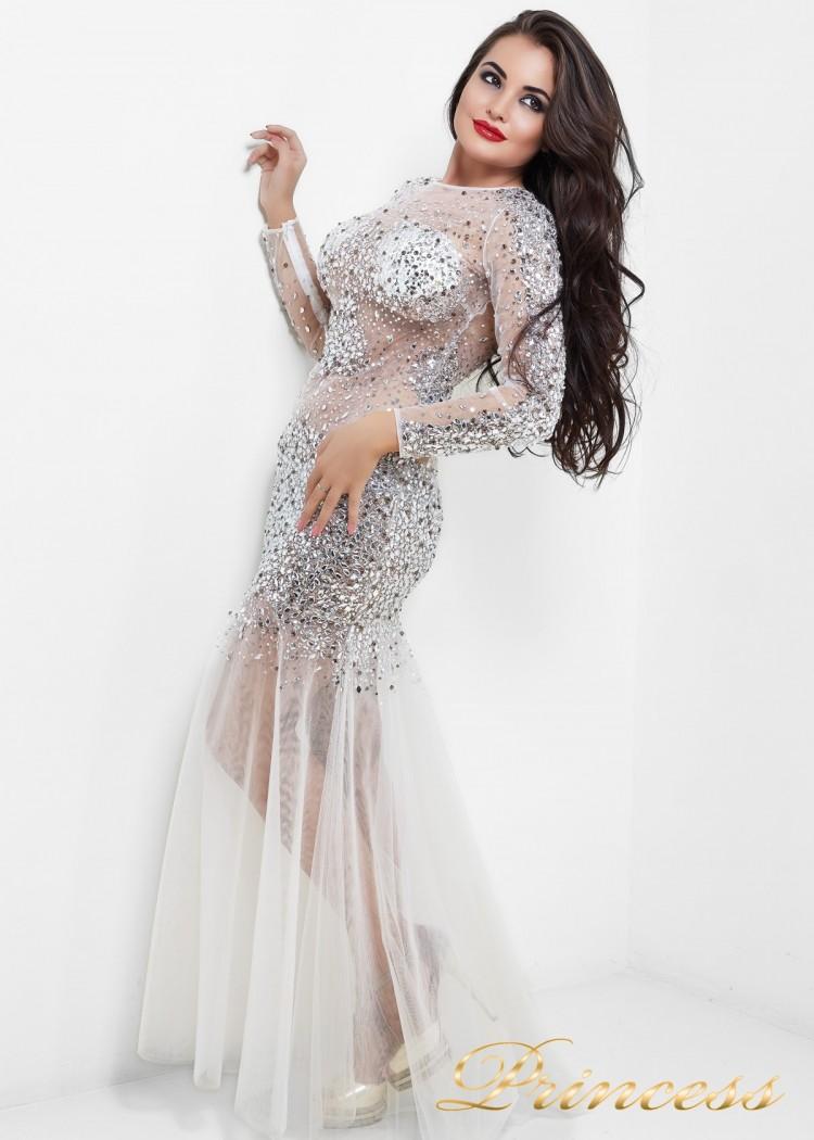 Коктейльное платье 8687W белого цвета