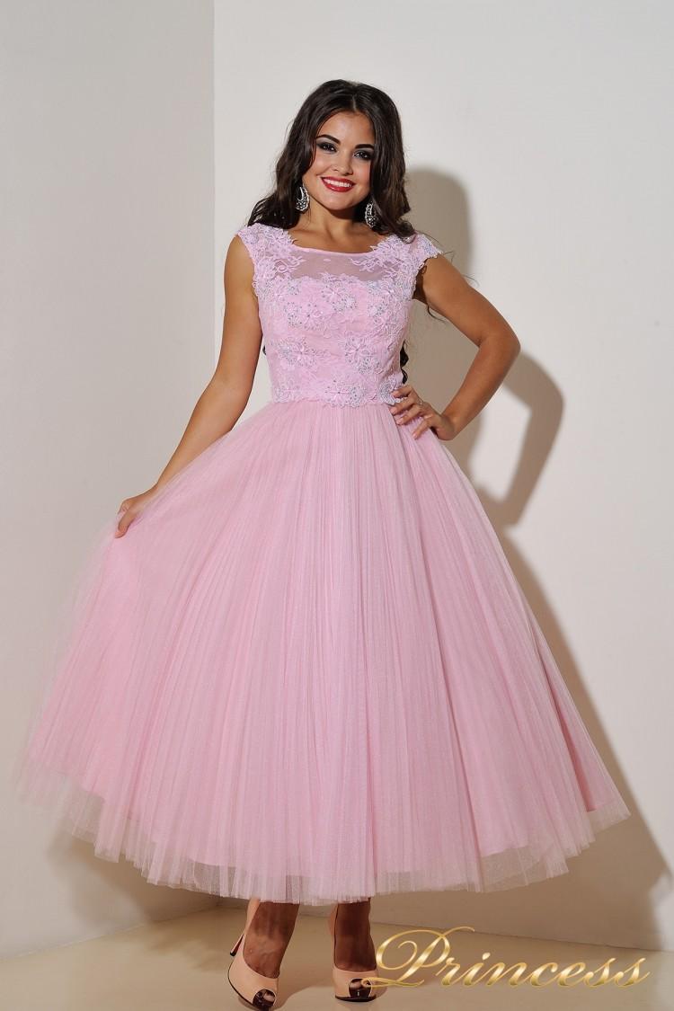 Вечернее платье 90043 розового цвета