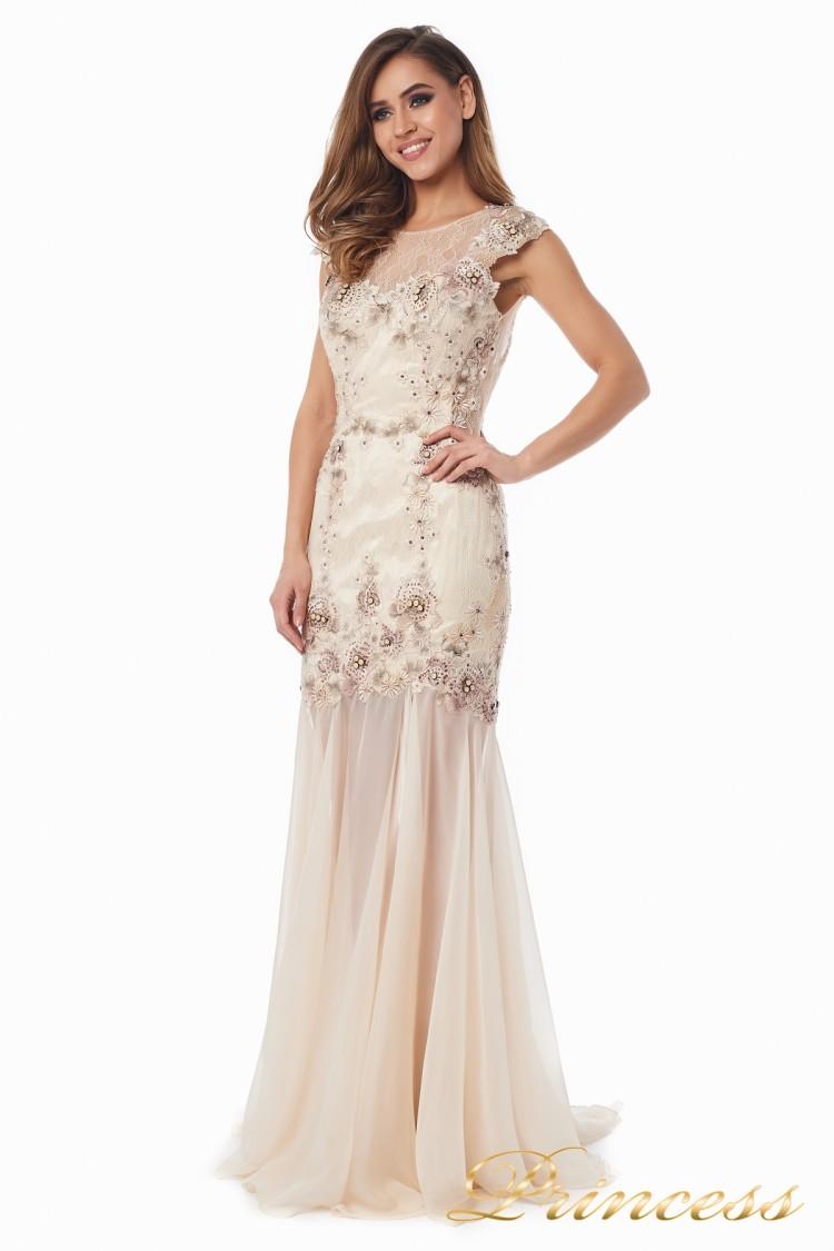 Вечернее платье 90065 цвета шампань