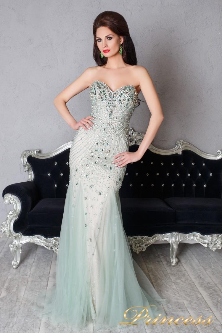 Вечернее платье 9059 мятного цвета