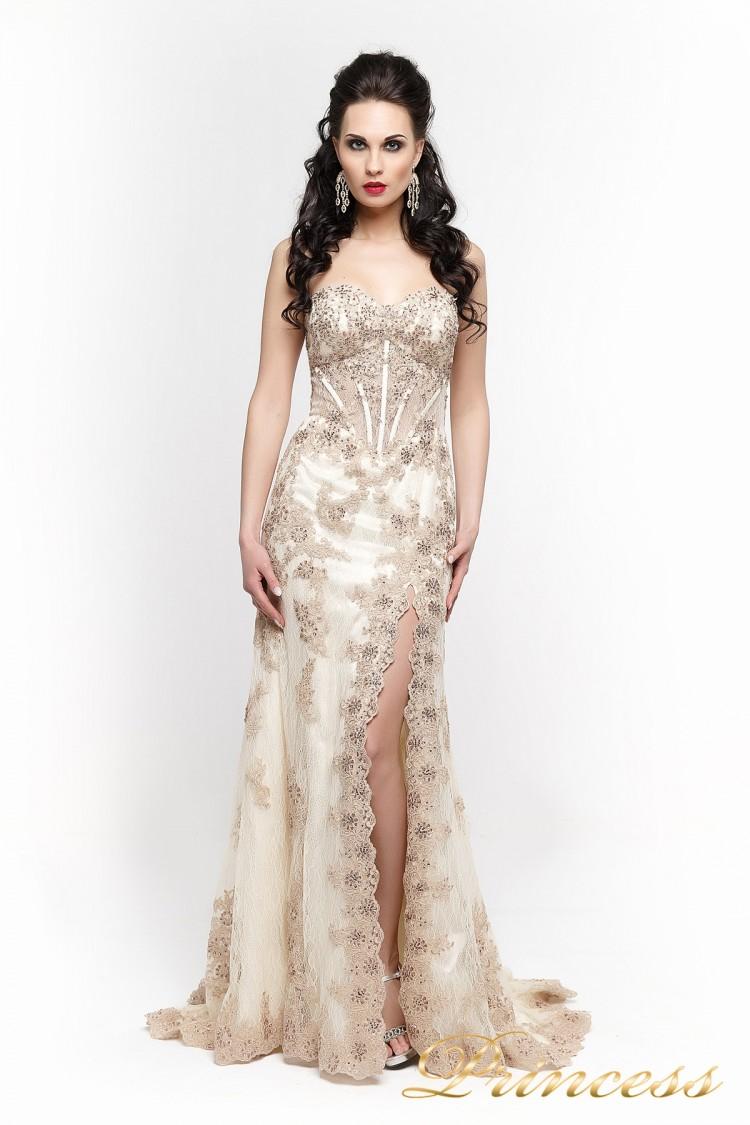 Вечернее платье 98362 цвета шампань