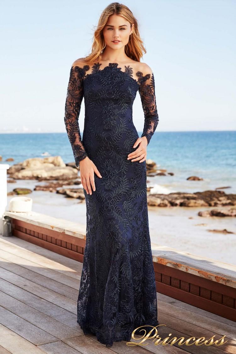 Вечернее платье Tadashi Shoji AUL18234L NAVY синего цвета