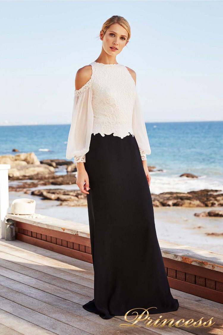 Вечернее платье AZY 18235L IVORY-BLACK чёрно-белого цвета