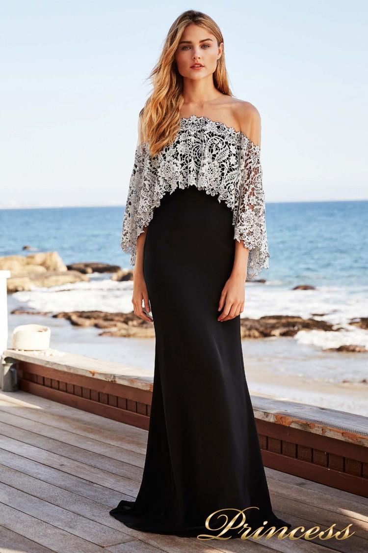 Вечернее платье BBH 18120L BLACK-IVORY чёрно-белого цвета