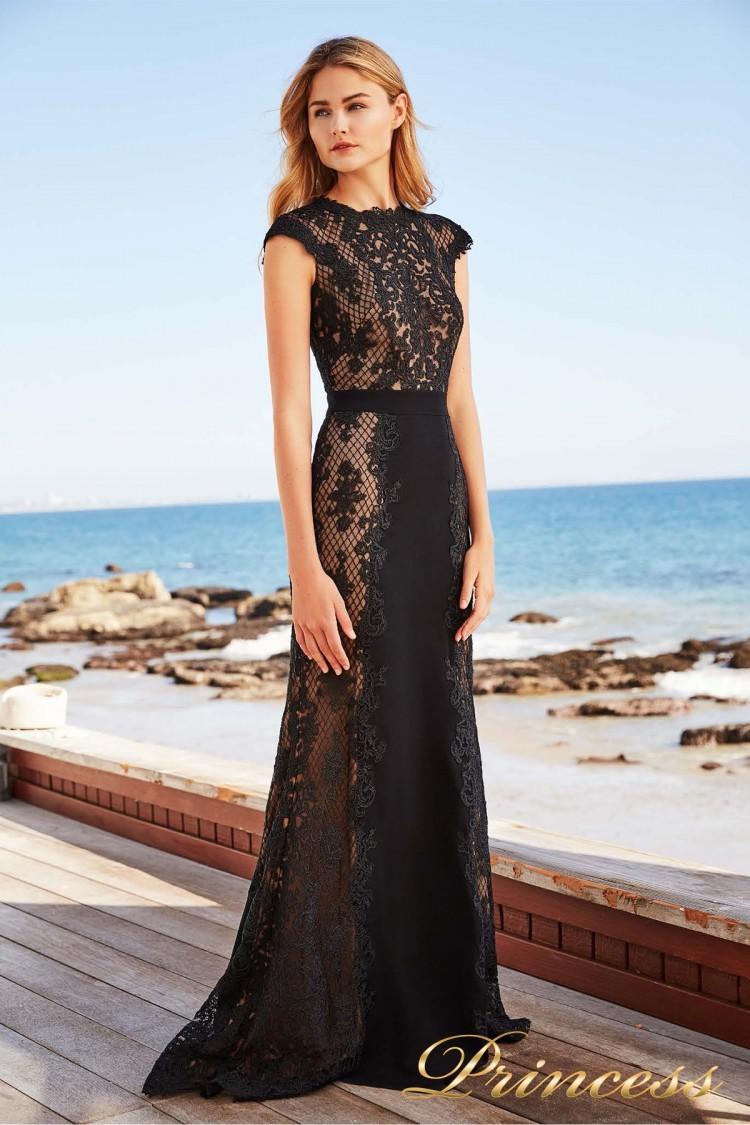 Вечернее платье Tadashi Shoji BBU18450L BLACK/NUDE чёрного цвета