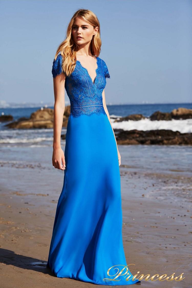Вечернее платье BCX 18541L AZURE синего цвета