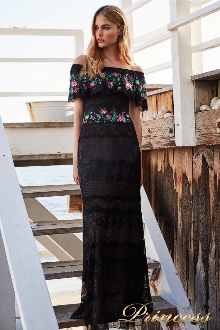 Вечернее платье Tadashi Shoji BDB18421L BLACK DAHLIA FLORAL чёрного цвета
