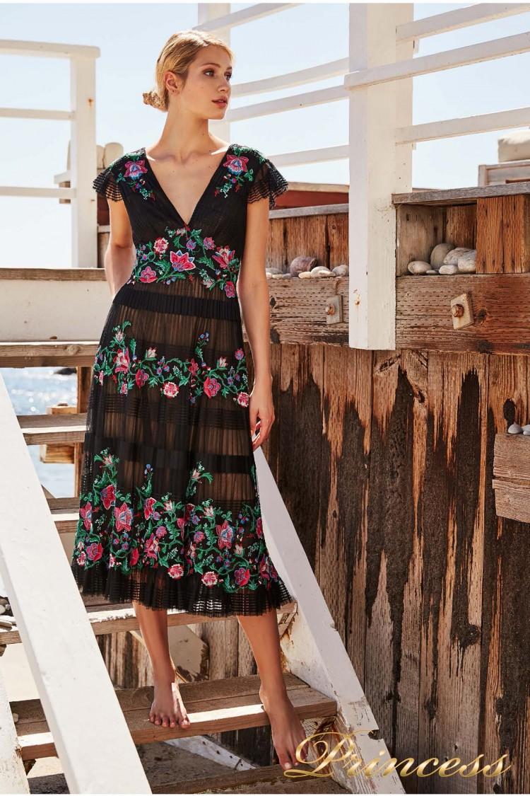 Вечернее платье BDB 18422 MD BLACK DAHLIA FLORAL чёрного цвета