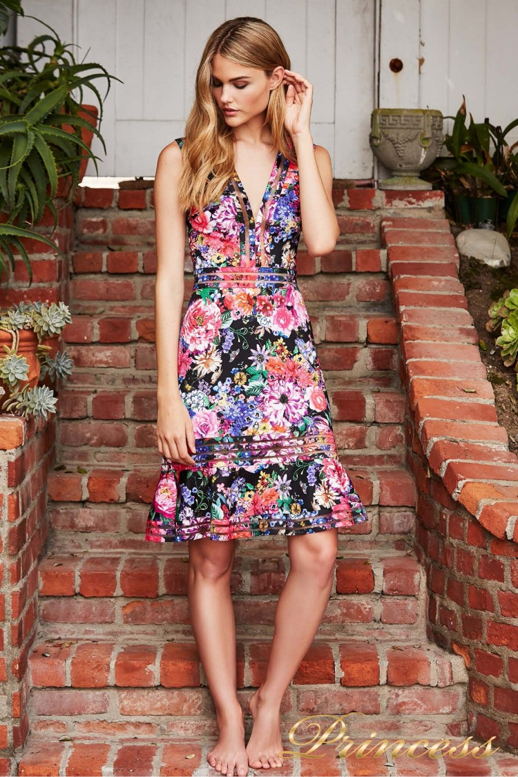 Вечернее платье BDF 18736M BLACK FLORAL PRINT цветочного цвета