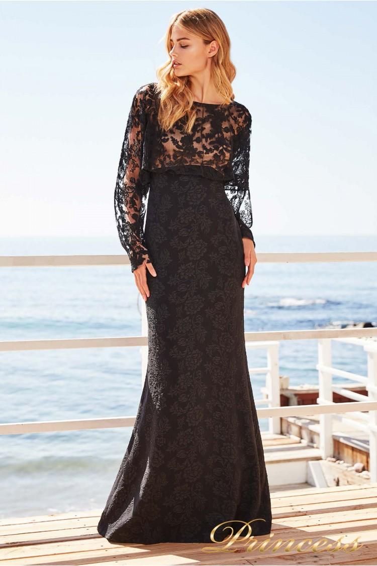 Вечернее платье BDH 18379L BLACK-NUDE чёрного цвета