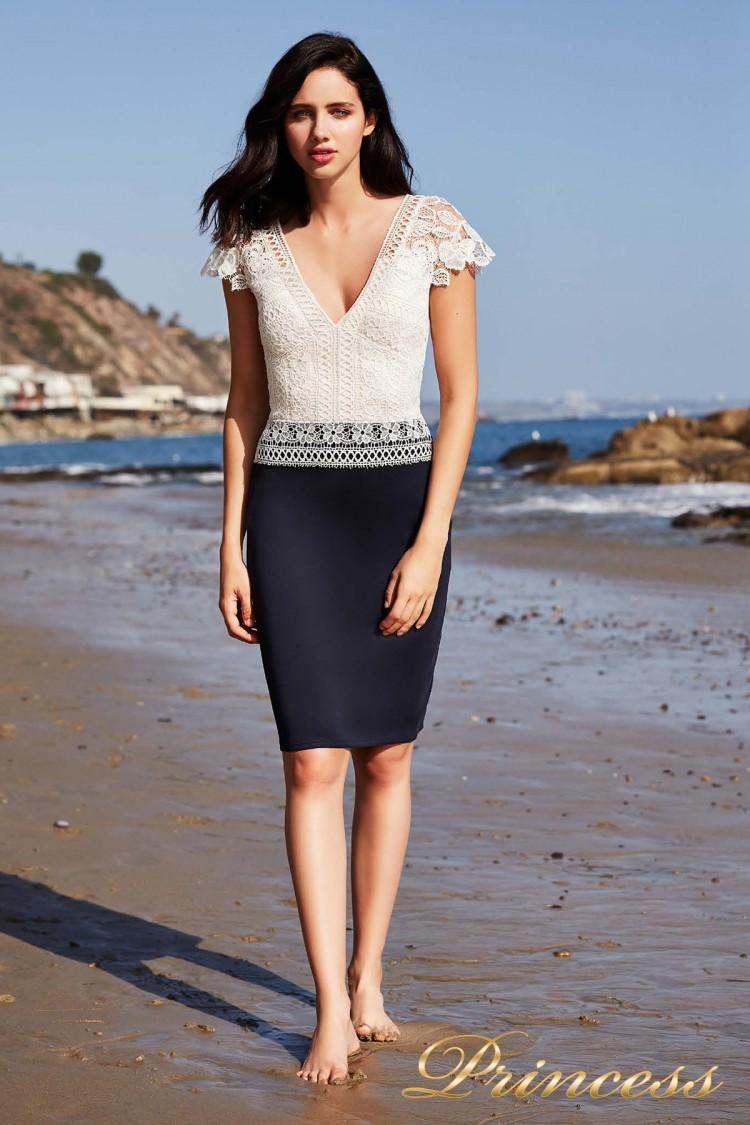 Коктейльное платье BDO 18590MX WHITE-NAVY синего цвета