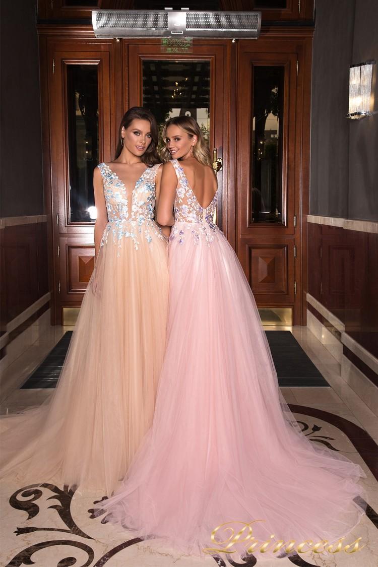Вечернее платье 19022 розового цвета