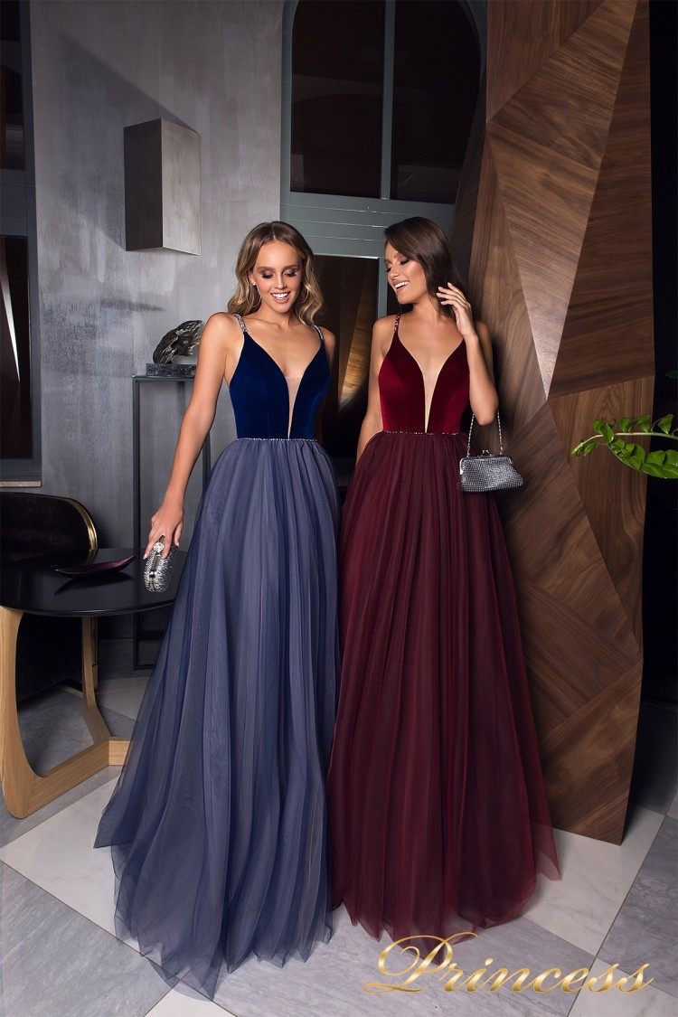Вечерние платья 19029 синего цвета