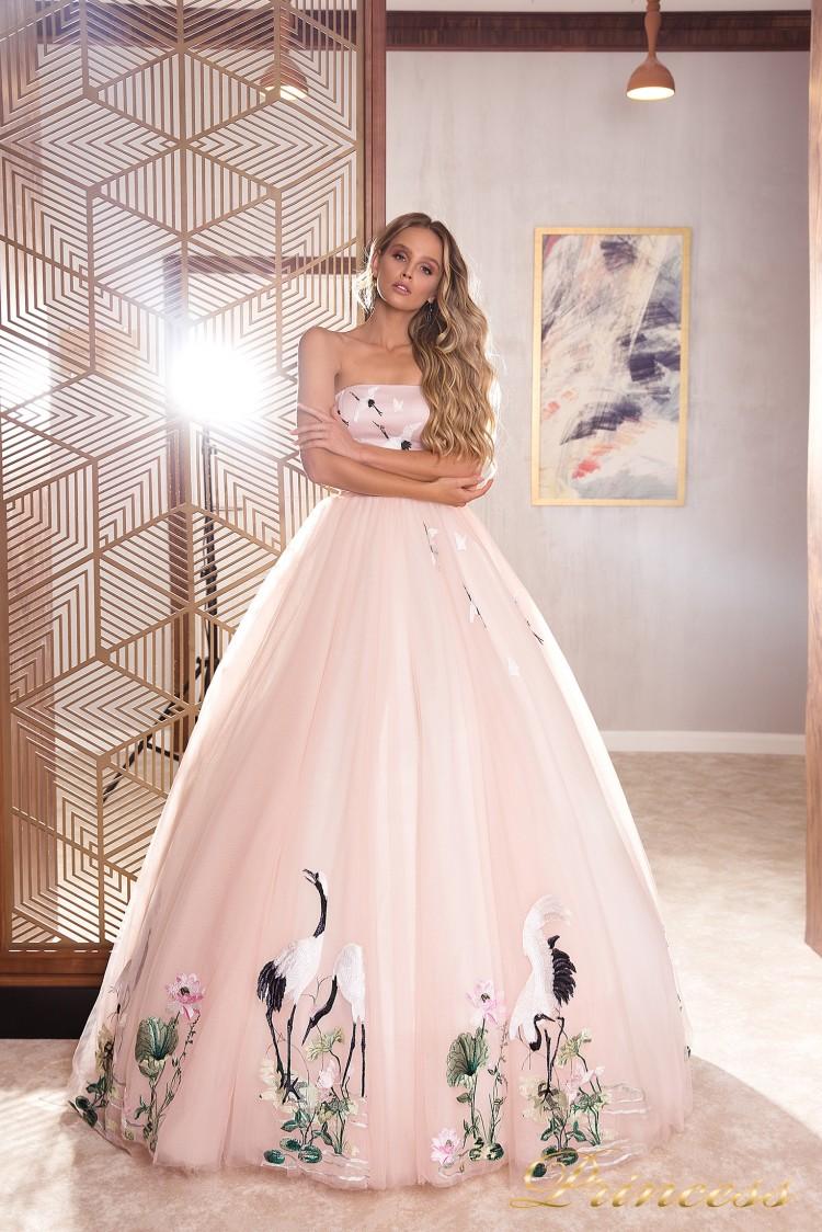Вечернее платье 19040 розового цвета