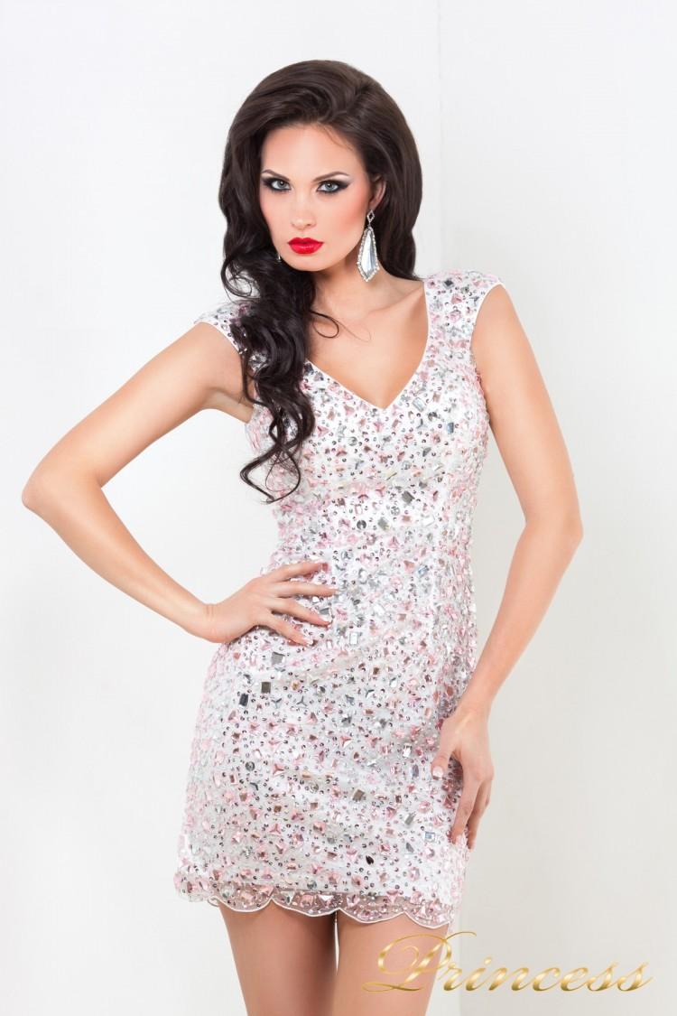 Коктейльное платье 26 розового цвета
