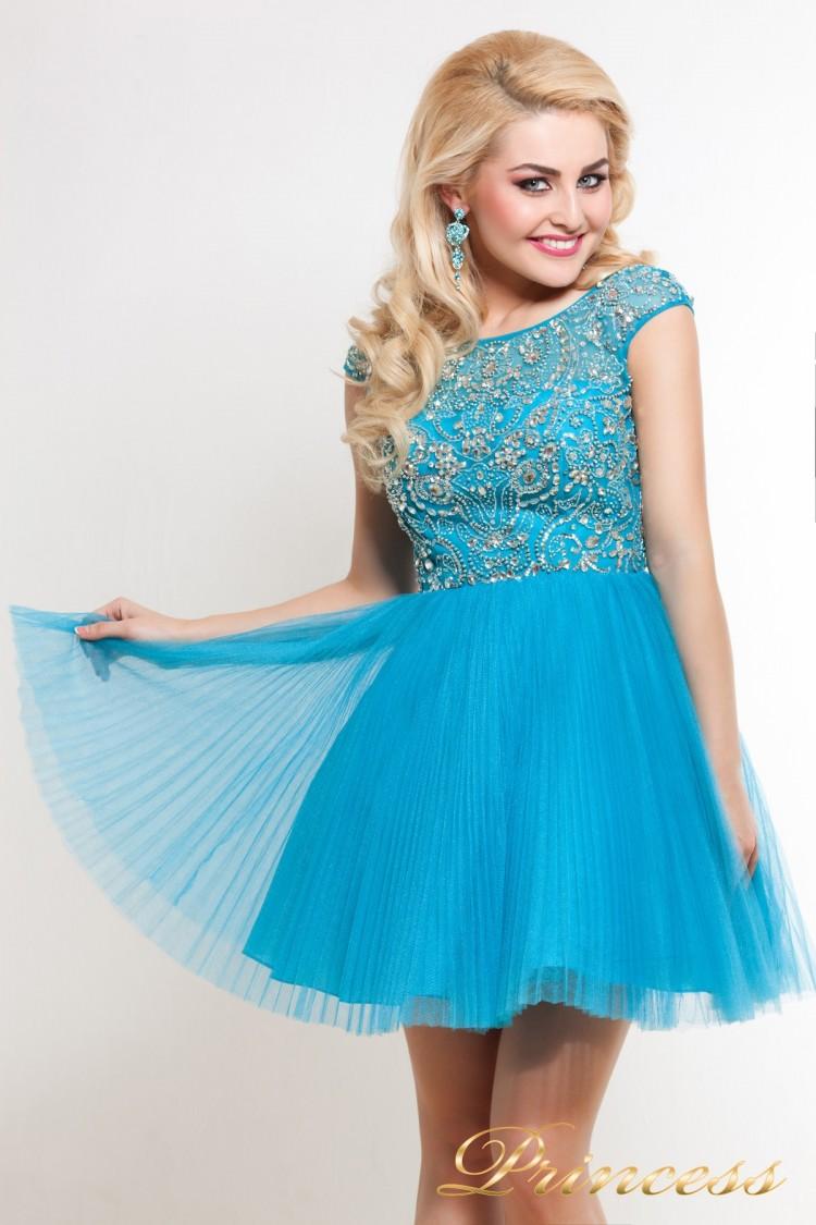 Платье на выпускной 24B голубого цвета
