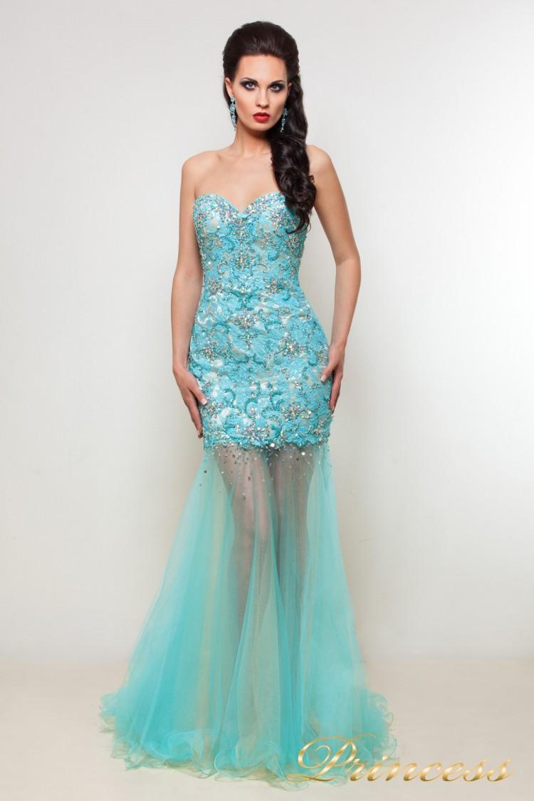 Вечернее платье PY9525 серебряного цвета