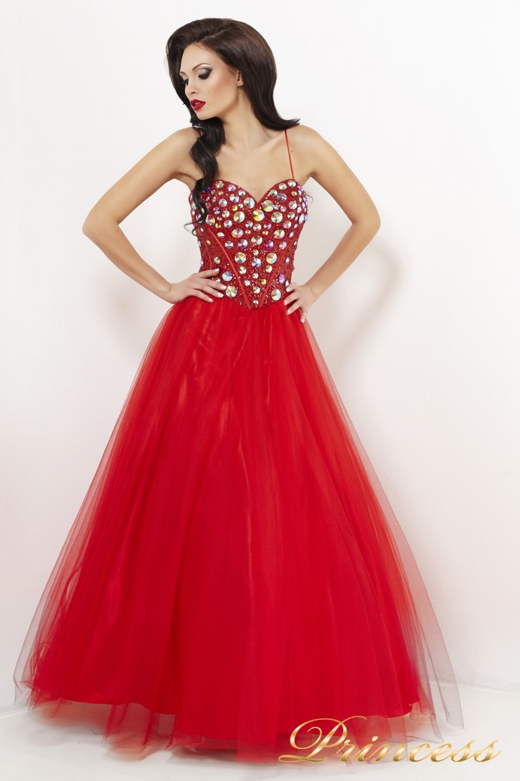 Вечернее платье пышное 23 красного цвета