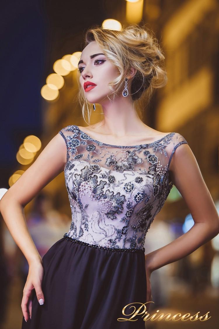 Вечернее платье 8008 синего цвета
