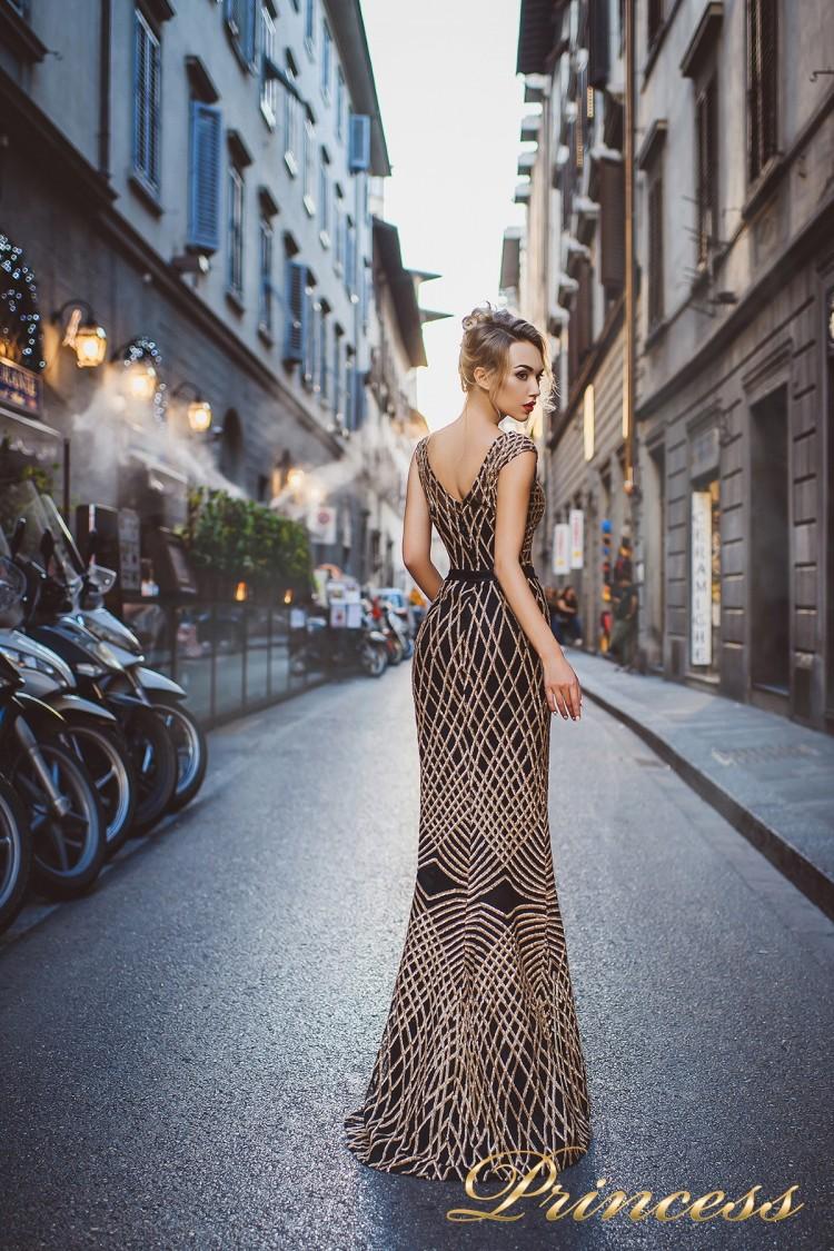 Вечернее платье 8012 золотого цвета