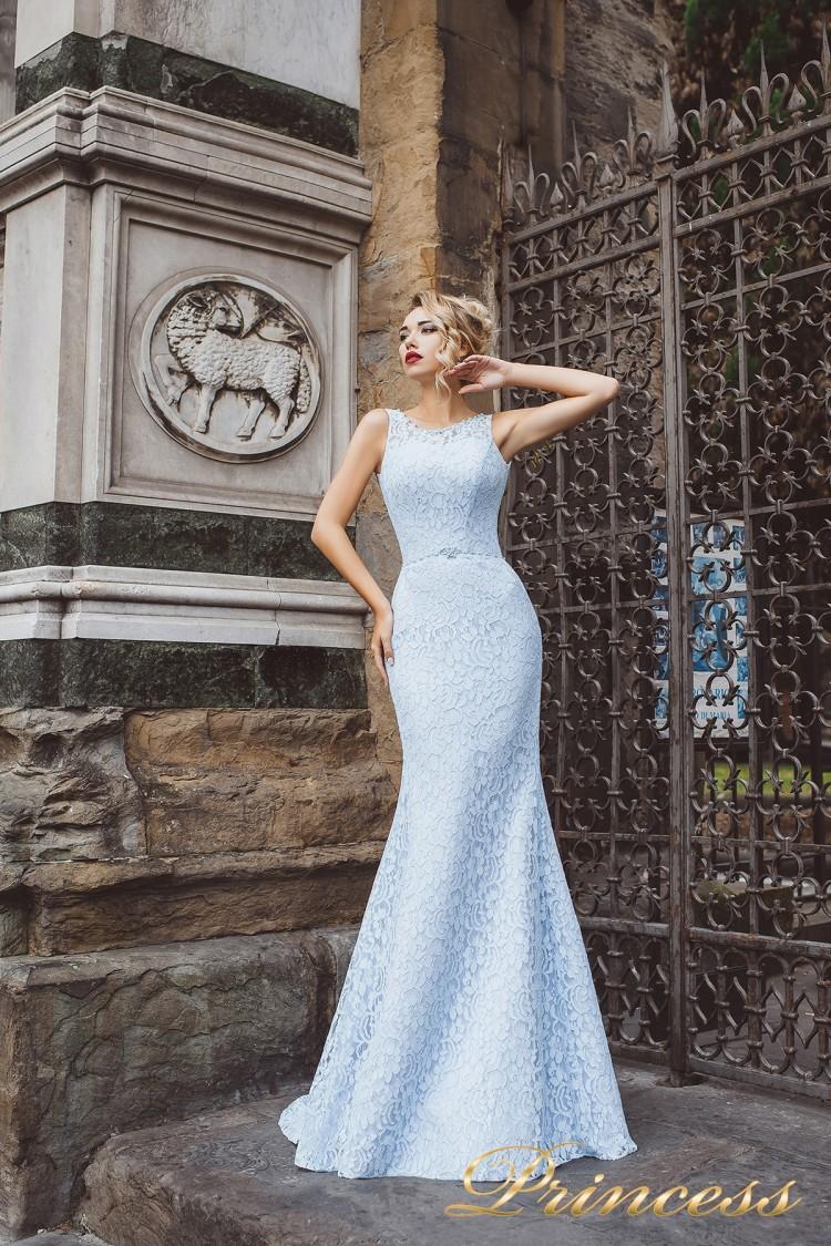 Вечернее платье 8013 голубого цвета