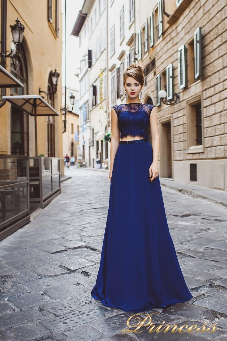 Вечернее платье 8017 синего цвета