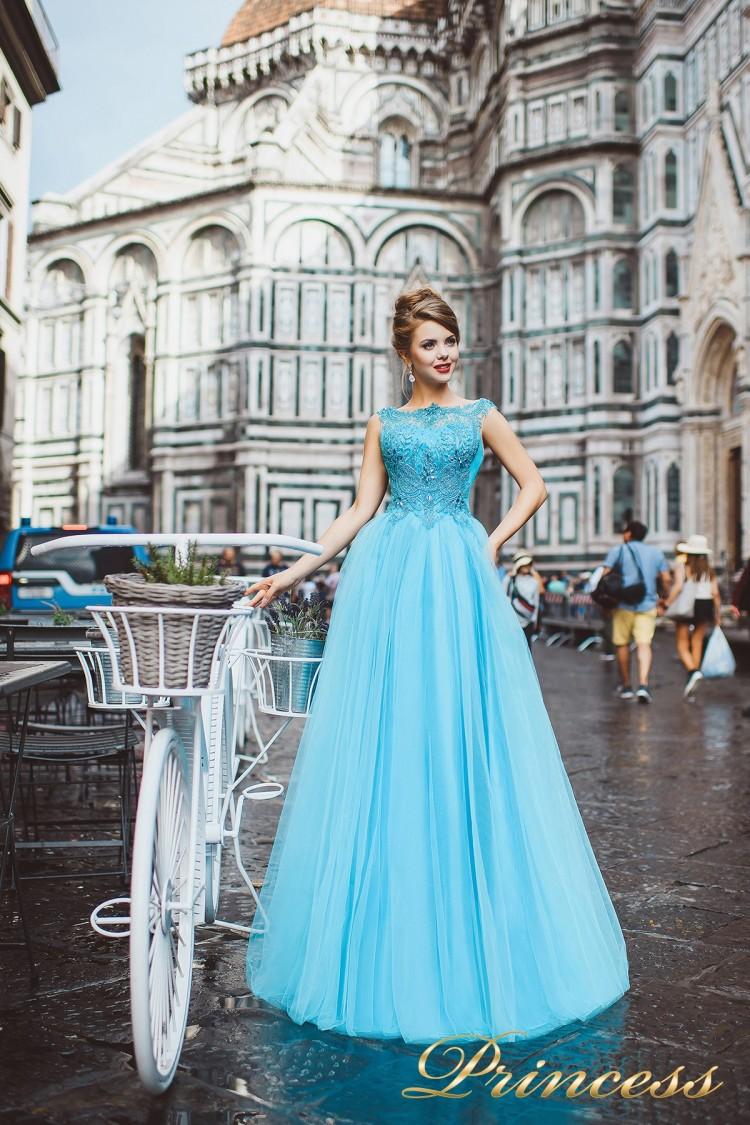 Вечернее платье 8019 голубого цвета