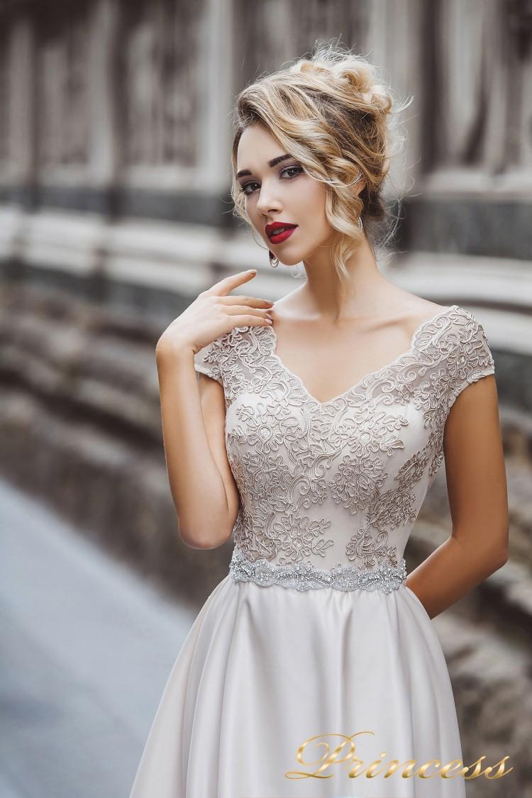 Вечернее платье 8020 бежевого цвета