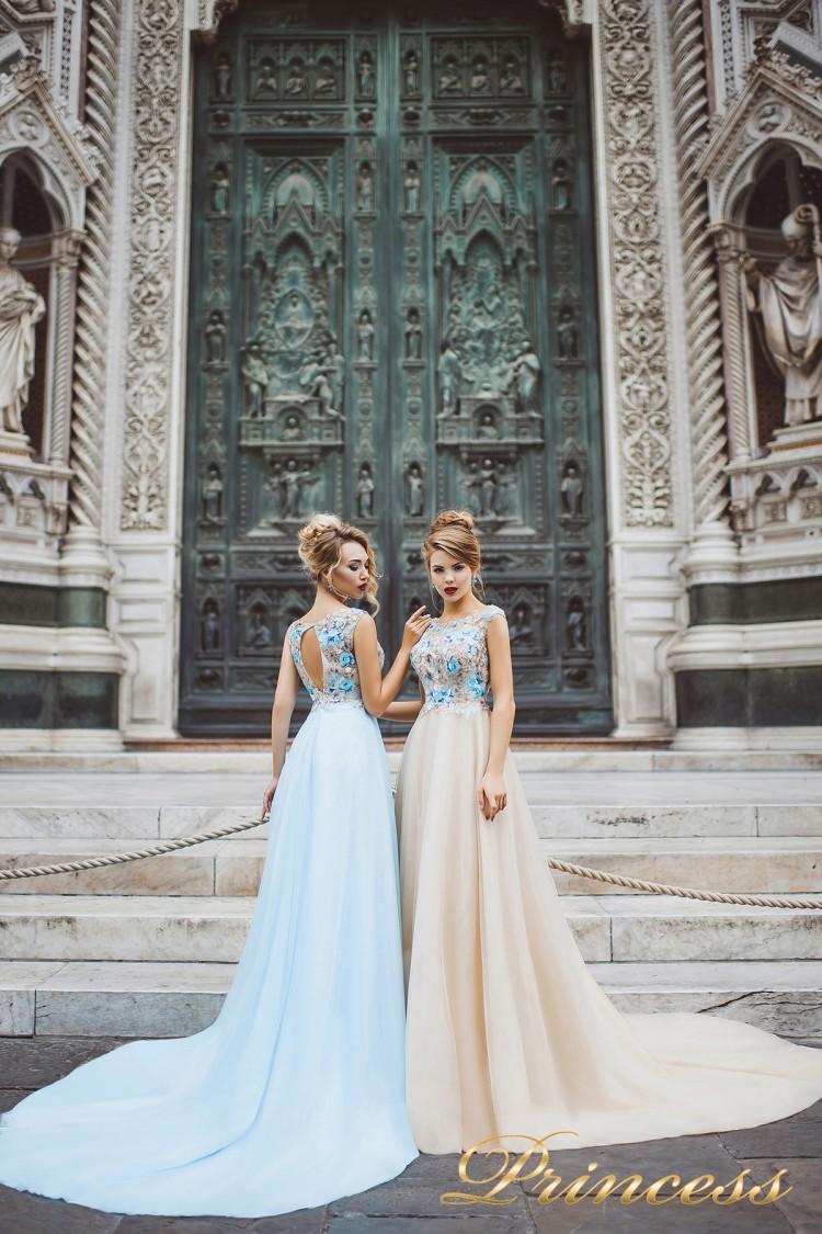 Вечернее платье 8027 айвоого цвета