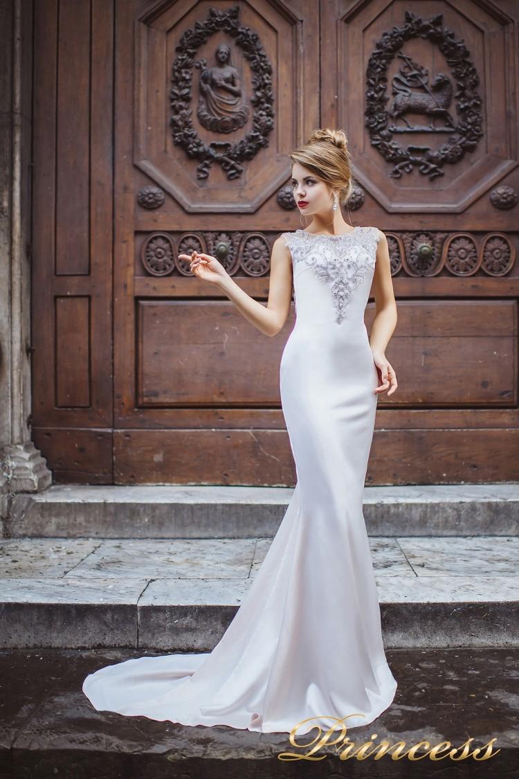 Вечернее платье 8033 серебряного цвета