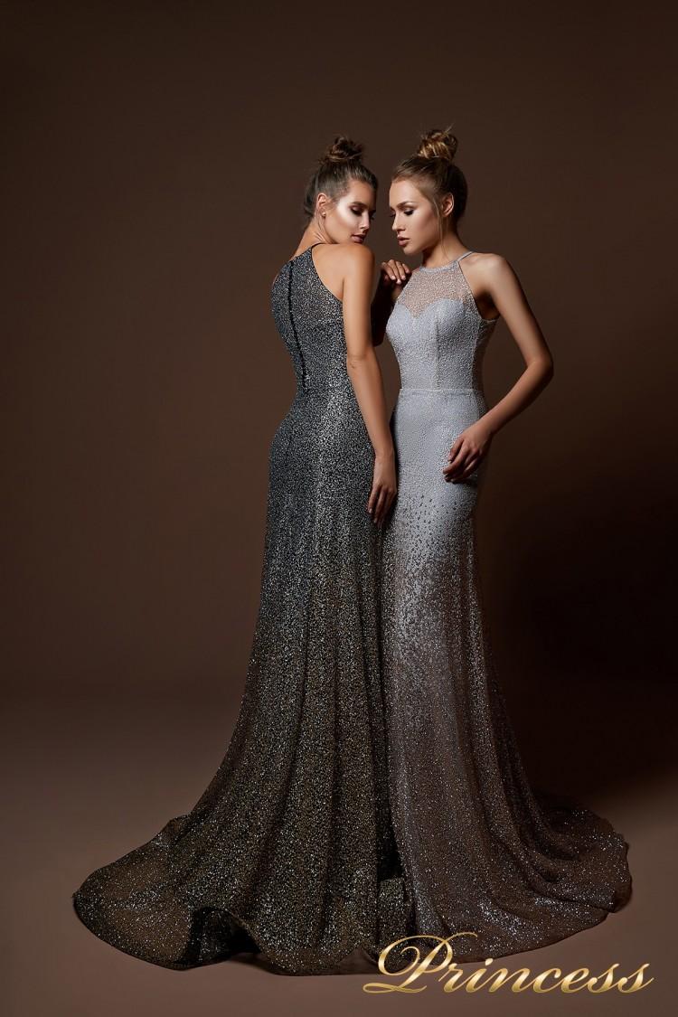 Вечернее платье 9058 серебряного цвета