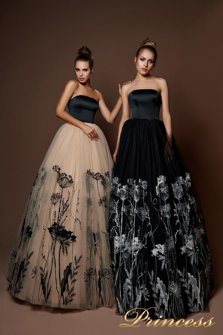 Вечернее платье 8060 бежевого цвета