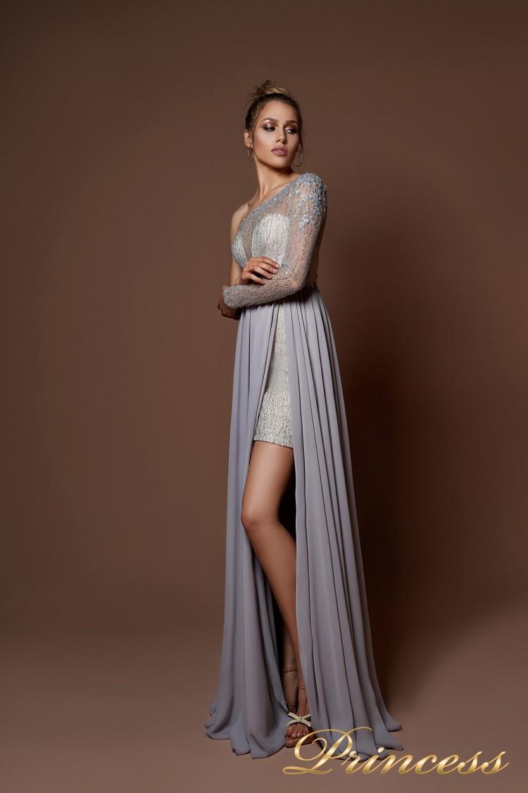 Вечерние платья 9061 серого цвета