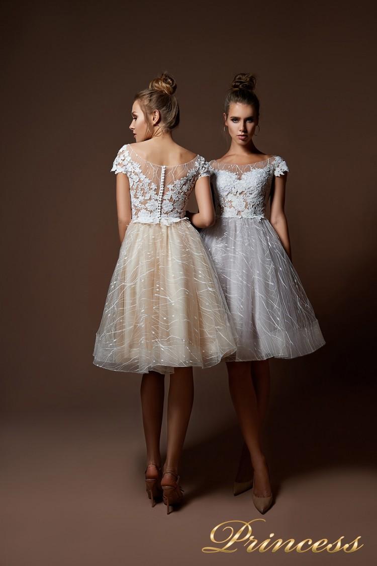 Вечернее платье 9065 белого цвета