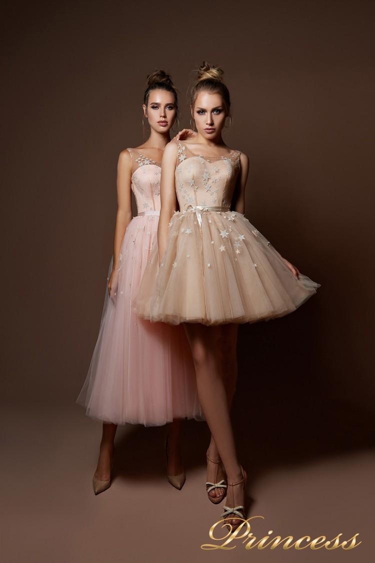 Вечернее платье 9069 цвета пудра