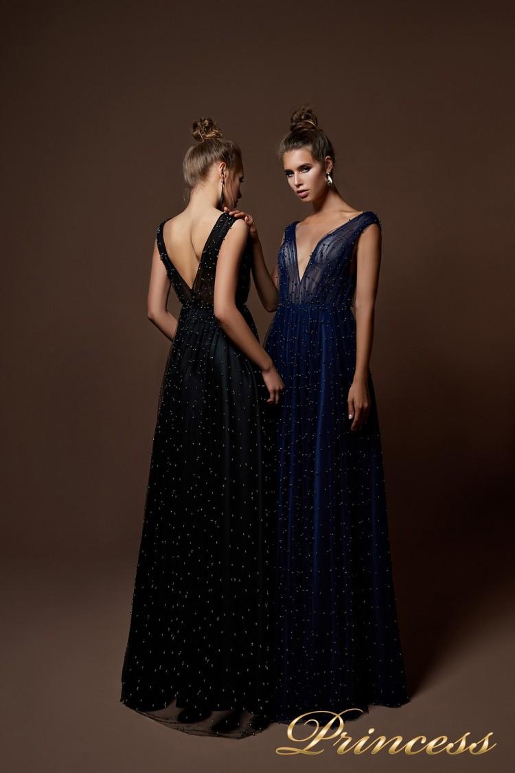 Вечернее платье 9072 синего цвета
