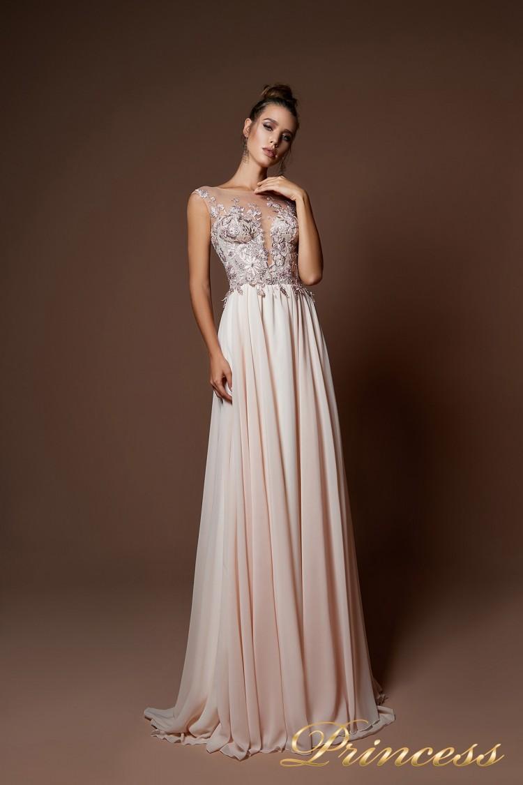Вечернее платье 9073 цвета пудра