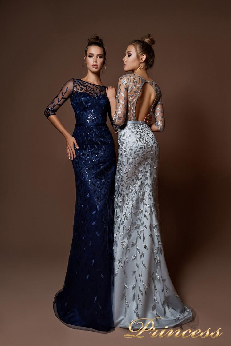 Вечернее платье 9076 стального цвета
