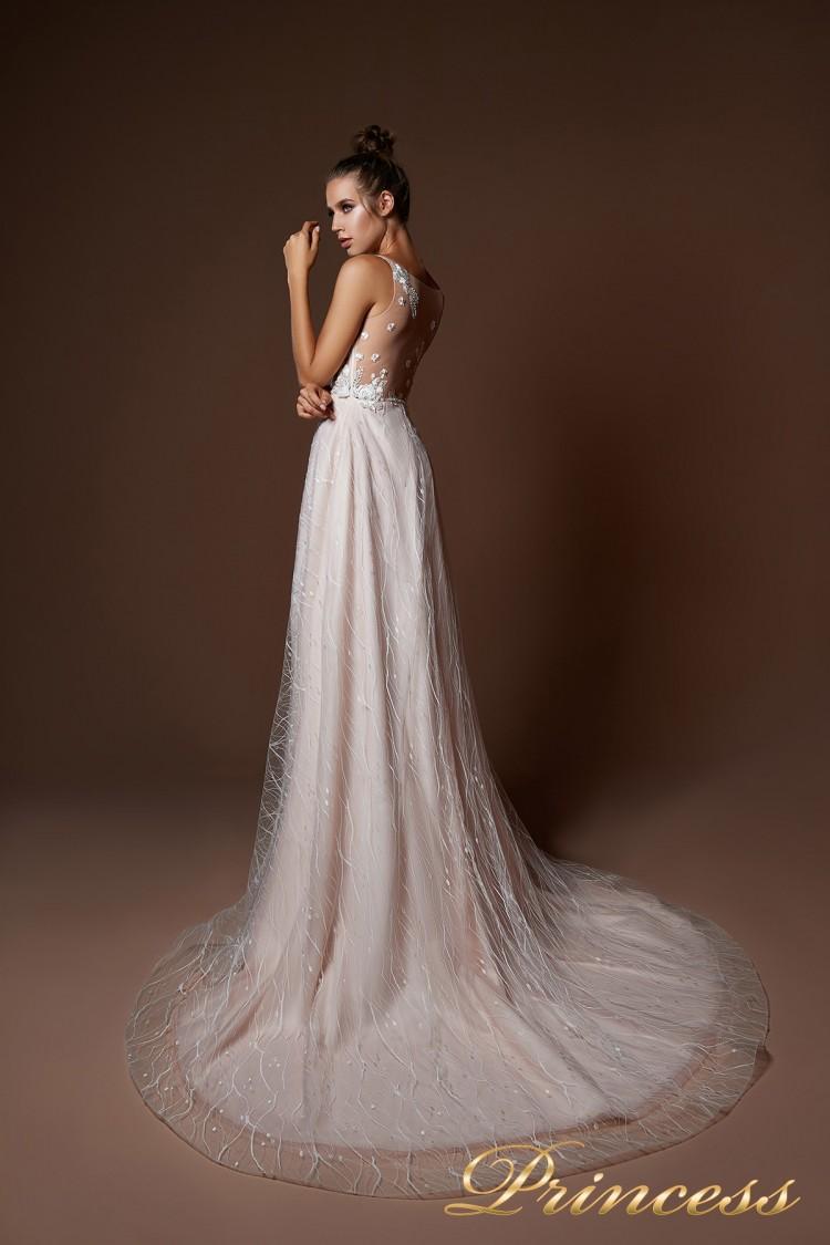 Вечернее платье 9077 бежевого цвета