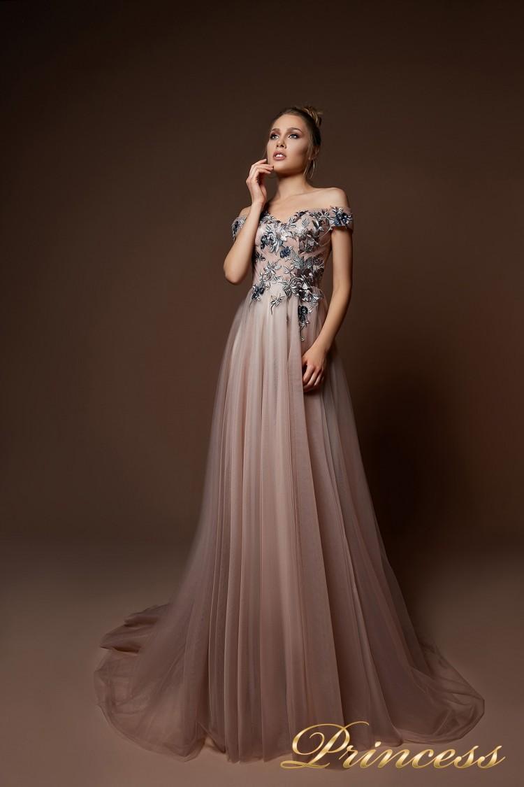 Вечернее платье 9078 цвета шампань